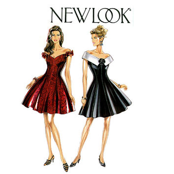 1990s SEXY Cocktail DRESS PATTERN Fit & Flare Off-Shoulder Dress New Look 6965 Bust 30.5 31.5 32.5 34 36 38 Womens Vintage Sewing Patterns