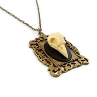 3D Raven skull in a picture frame necklace, Raven skull cameo necklace, Faux taxidermy necklace, Gothic cameo, alternative, Bronze necklace
