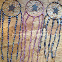 "7"" primitive dream catcher, multiple colors, country decor dreamcatcher handmade"