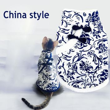 Chinese style winter warm fleece dog jacket coat pet cat dog hoodie clothing for pet chihuahua Yorkshire dog clothes tang suit