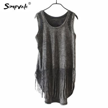 SIMPVALE Punk Style Black Crochet Long Tank Tops Women Summer Fashion Tassel Vintage Hollow Out Hole Sleeveless Vest