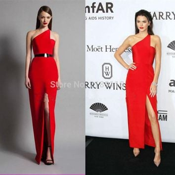 2016 New York Gala Celebrity Kendall Jenner One Shoulder Satin High Slit Red Prom Dress red carpet dress Formal Evening Gown