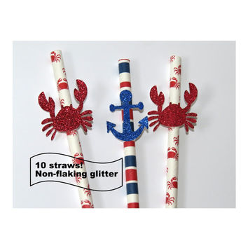 Crab straws, anchor straws, summer, beach wedding decorations, nautical theme, pool party, seafood, crab party, anchors, crabs, ocean, 10CT