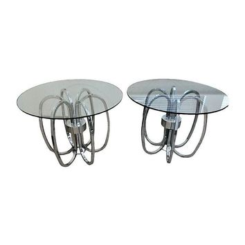 Pre-owned Chrome & Glass End Tables - A Pair