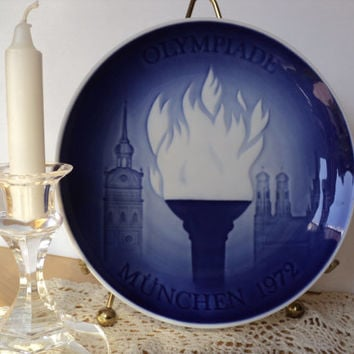 Olympic Decorative Plate of Olympiade Munnchen 1972 Bing Grondahl Copenhagen Porcelain Cobalt Blue Wall Plate Olympic Torch Made in Denmark