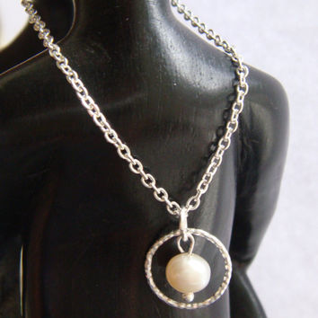 Sterling Silver Eternity Necklace, Eternity Circle, bridesmaid gift, Mother of the bride, pearl necklace