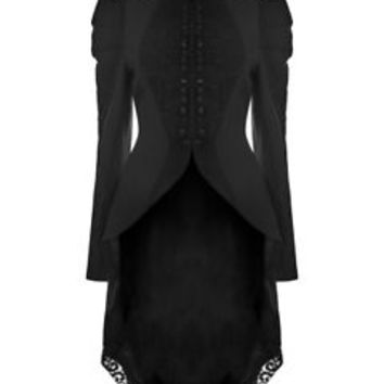 Punk Rave Womens Gothic Tailcoat Jacket Black Lace Steampunk Victorian Vintage