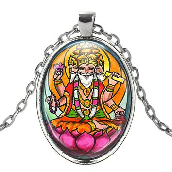 Lord Brahma the Creator Talisman with Chain Necklace