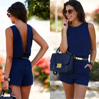 Bodysuit Summer Short Sleeve Round-Neck Overalls Slim Lace Casual Jumpsuits