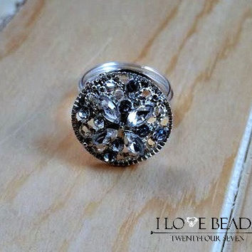 Silver wire wrapped ring-silver crystal ring-silver button ring-rings custom sized-gifts for her-non tarnish ring-statement ring