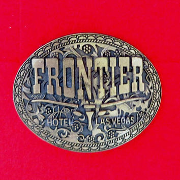Frontier Hotel Belt Buckle, Vintage 1970s Las Vegas Gamblers Collectible Belt Buckle