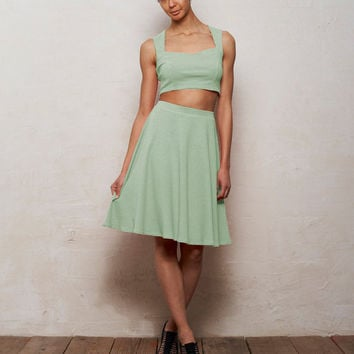 Mix n Match Kirsten Bralet and Skater Skirt Set in Pastel Mint Green