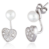 925 Sterling Silver 5mm Simulated Pearl and Cz Heart Dangle Earrings