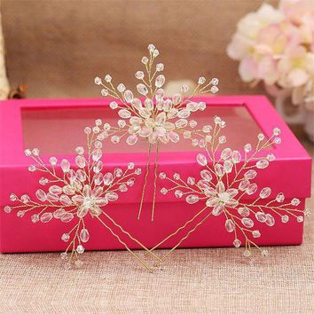 3pcs/set Fashion Handmade Clear Beads Wedding Bridal Flower Hair Pin Women Pageant Prom Bride Hair Sticks Pins Head Ornaments