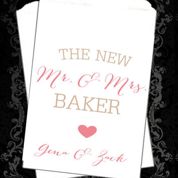 WB196 - The New Mr & Mrs // Wedding Buffet // Thank You Favors // Wedding favor // Candy Buffet // Wedding Candy Bag // Popcorn Bags //