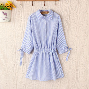 Blue Stripe Tie-Sleeve Button-Up Collared Dress