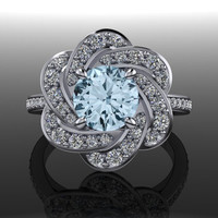Aquamarine and Diamond Engagement Ring 1.75 CTW