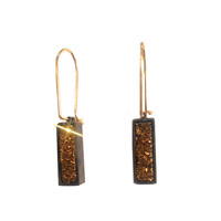 Gold Drusy Rectangular Earrings