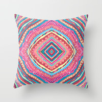 Bright Gypsy Bohemian Abstract Pattern Throw Pillow by TigaTiga Artworks
