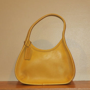 Coach Bright Sunshine Yellow Mini Ergo Handbag  Hobo Purse # 9027- Made in U.S.A.