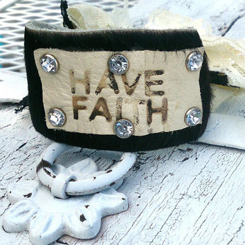 Hair On Hide Branded Leather Cross Cuff Bracelet, Religious Western Cowgirl Jewelry