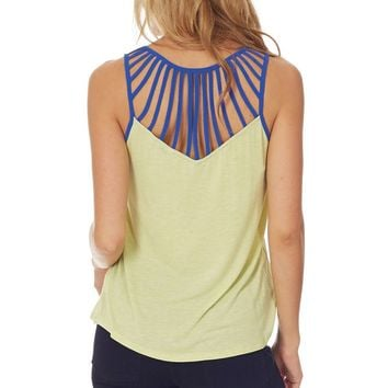 Neon Green Blue Accent Tank Top