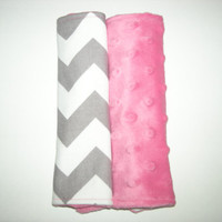 Chevron & Bubblegum Pink Minky Reversible Car Seat Strap Covers