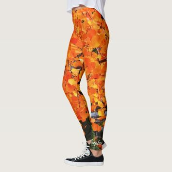 Orange Tree with Personalized Name Leggings