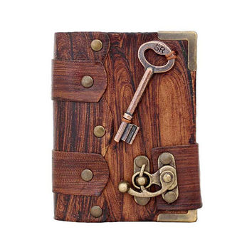 Key Pendant On A Brown Mini Leather Journal / Diary / Lock / Sketchbook / Notebook / Leatherbound