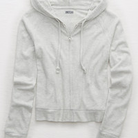 Aerie Plush Crop Hoodie , Heather Frost