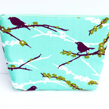 Turquoise zipper pouch / Plum cosmetic case /aqua purple birds, large makeup bag, clutch / wristlet /  pencil case