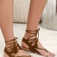 Sun Kiss Tan Suede Lace-Up Flat Sandals