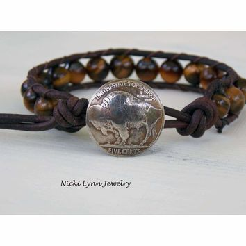 Genuine Buffalo Nickel Single Wrap Bracelet