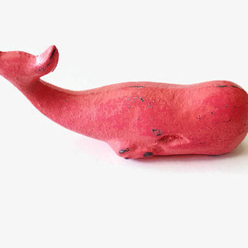 Whale Paper Weight. Pink Whale Decor. Preppy Desk Topper. Coral Dorm Decor. Nautical Mantle. Gift for Her. Beach Cottage. Ocean Figurine