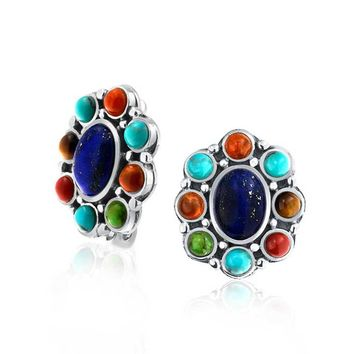 Lapis Turquoise Oval Gemstones Clip On Earrings Ears Sterling Silver