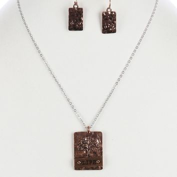 Brown Tree Of Life Message Pendant Necklace And Earring Set