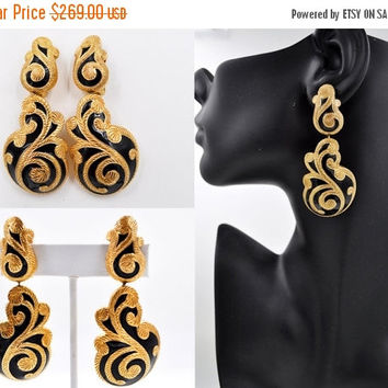 ON SALE Vintage Christian Dior Huge Runway Dangle Clip Earrings, Gold & Black Enamel, Damask, Swirled, Textured, Impossible to Find! #b500