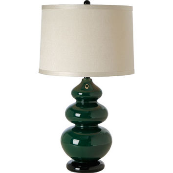 Trend TT3608 Diva Emerald One-Light Table Lamp with Ivory Cross Woven Linen Shade