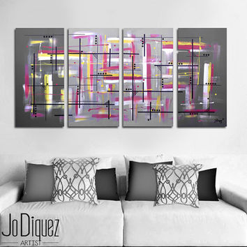 "Original abstract painting. 51x24"" 4 piece canvas art. Large painting. Gray painting with yellow and pink. Big painting. Modern wall art"