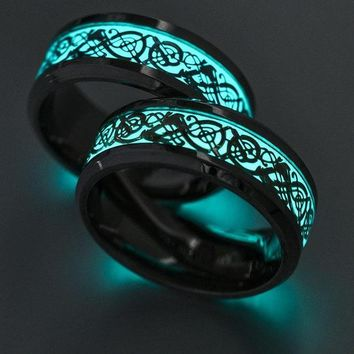 Blue And Green Dragon Inlay Glow In The Dark Ring