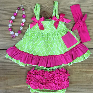 Lime & Hot Pink Ruffled Swing Top Set