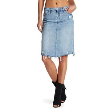 BLANKNYC Denim Women's Big Reveal Distressed Denim Skirt