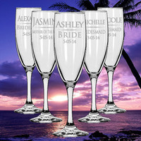 FOURTEEN Personalized Wedding Champagne Flutes Custom Etched Glass Champagne Flutes