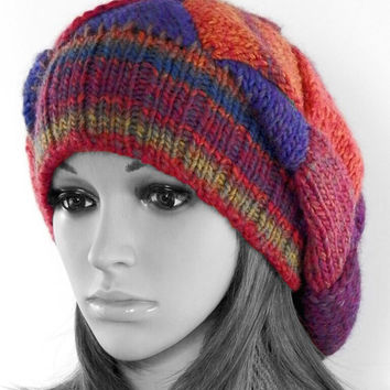 Hand knitted entrelac beanie Bright winter