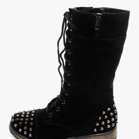 Black Urbanite Chic Studded Combat Boots | $13.50 | Cheap Trendy Boots Chic Discount Fashion for Wom