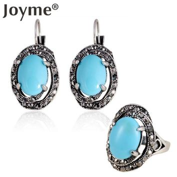 Vintage Turkish Ethnic Blue Oval Silver Plated Clip Drop Earring Ring Turquoise Jewelry Sets