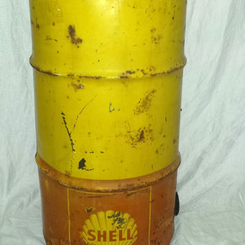 Vintage Giant 1960's Industrial Shell Oil 30 Gallon Can