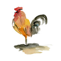 The Rooster, art  print of original watercolor painting, farm animals, Brown Red Black,digital print, cottage chic, nursery decor