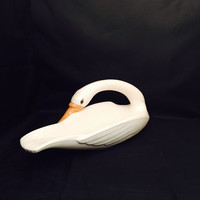Vintage Ceramic Swan Large Centerpiece Bowl