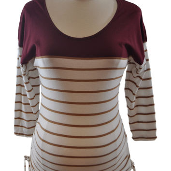 Maroon Stripe Long Sleeve Top by Old Navy